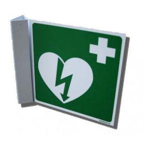 AED-pictogram op bord haaks 15x15cm